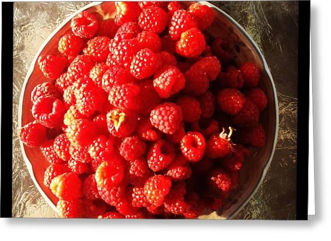 Raspberries Greeting Card by Izabela Bienko