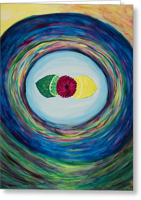 Raspberry Lemon Lime Greeting Card by Phoenix The Moody Artist