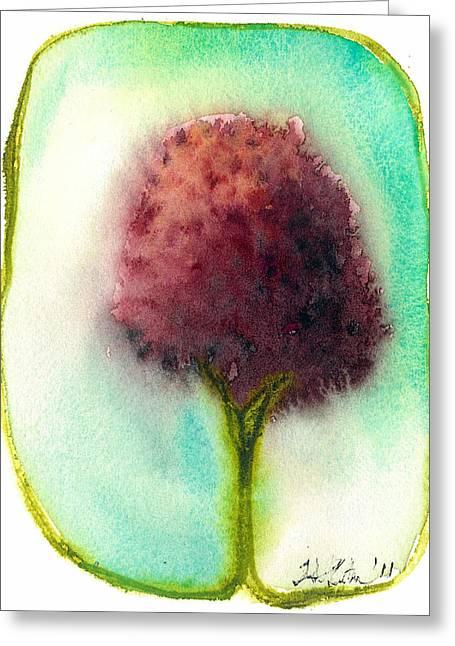 Raspberry Tree Greeting Card by Hilary Slater