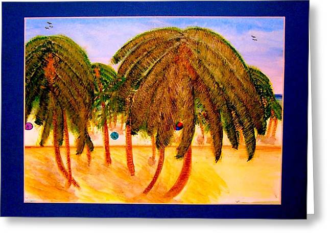 Rasta Palms Greeting Card by Larry Farris