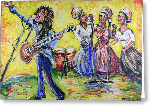 Rastaman Vibration - Bob Marley And The I-threes Greeting Card by Jason Gluskin