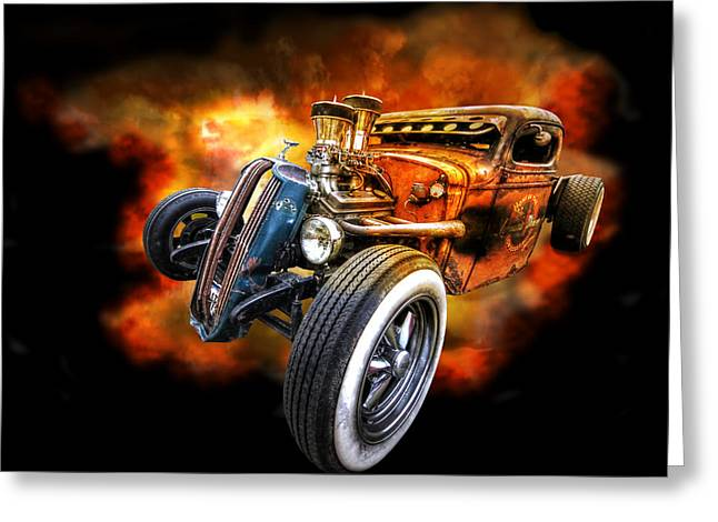 Rat Rod Explosion Greeting Card by Gill Billington