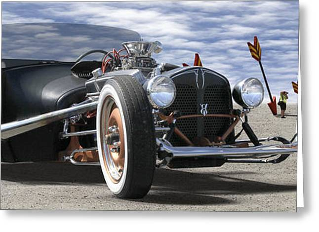 Rat Rod On Route 66 2 Panoramic Greeting Card by Mike McGlothlen