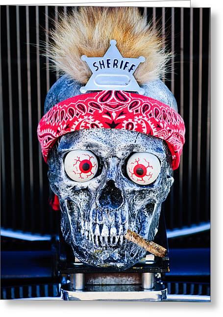 Rat Rod Skull Hood Ornament 2 Greeting Card by Jill Reger
