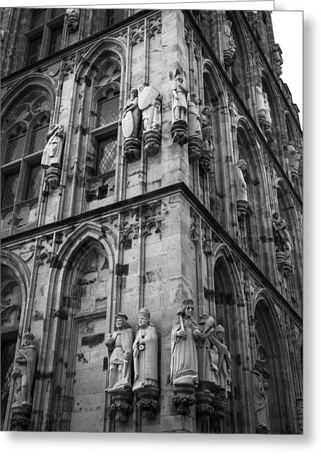 Rathaus Tower Cologne Germany Bw Greeting Card by Teresa Mucha