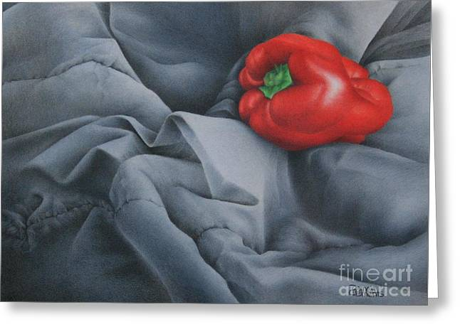 Greeting Card featuring the painting Rather Red by Pamela Clements