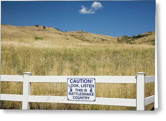 Rattlesnake Warning Sign Greeting Card by Jim West