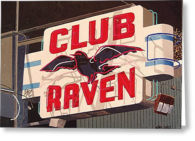 Raven Club Greeting Card by Paul Guyer