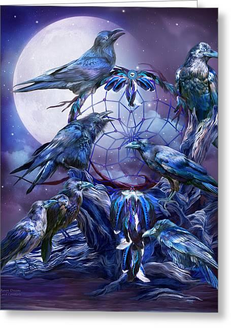 Raven Dreams Greeting Card by Carol Cavalaris