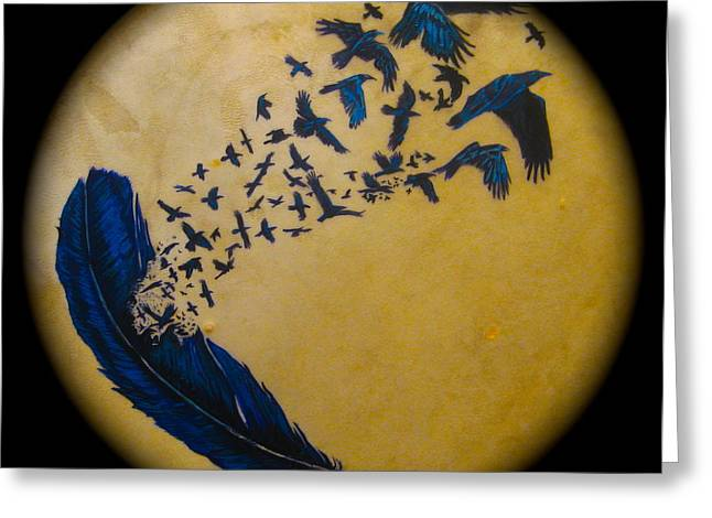 Raven Feather Drum Greeting Card