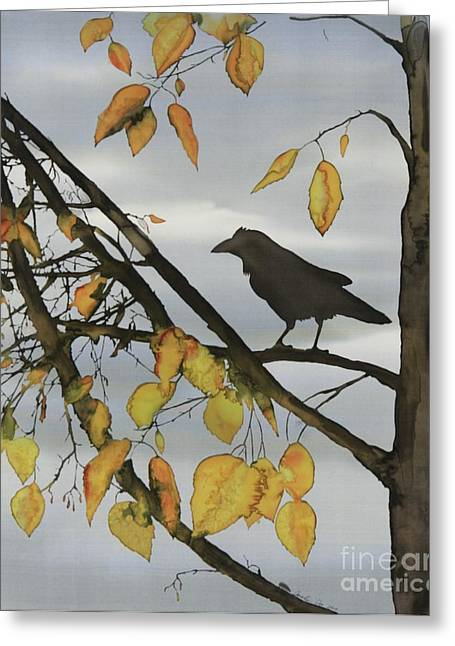 Raven In Birch Greeting Card