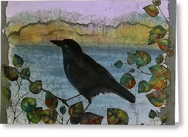 Raven In Colored Leaves Greeting Card by Carolyn Doe