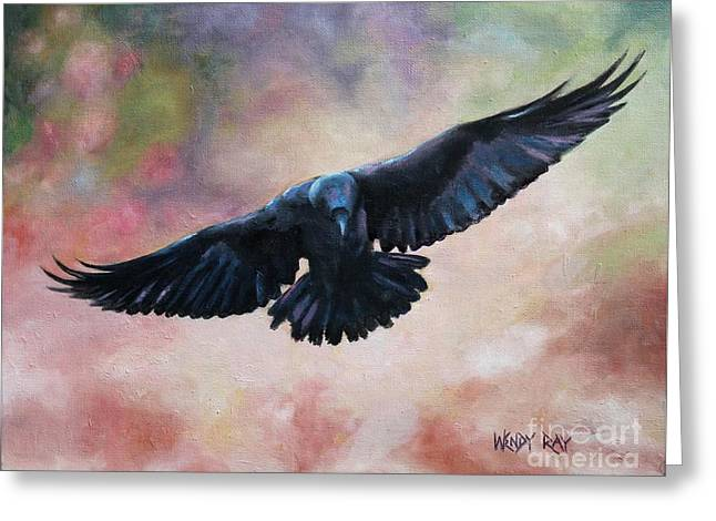 Raven In Flight Greeting Card