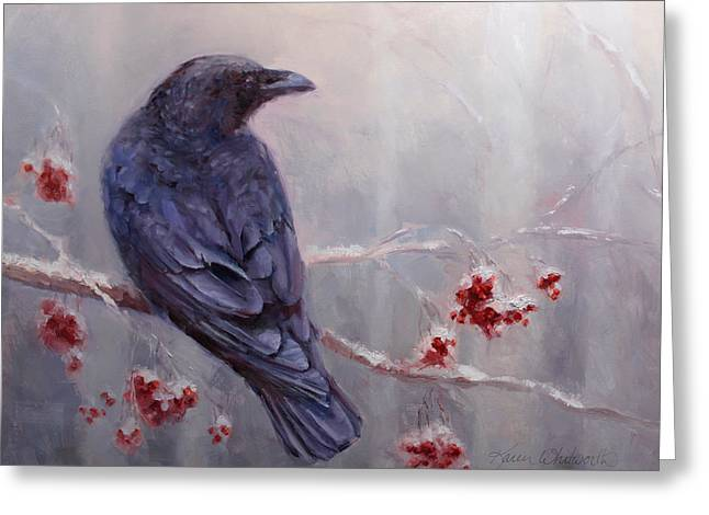 Raven In The Stillness - Black Bird Or Crow Resting In Winter Forest Greeting Card by Karen Whitworth