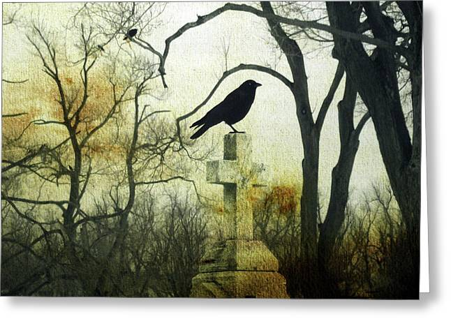 Raven On Cross Greeting Card by Gothicrow Images