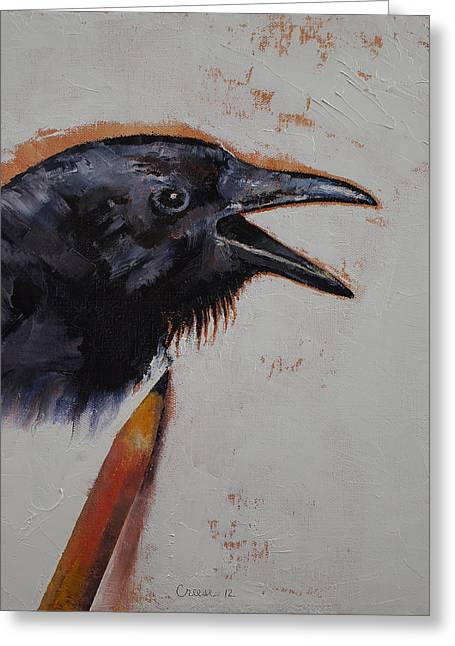 Raven Sketch Greeting Card by Michael Creese