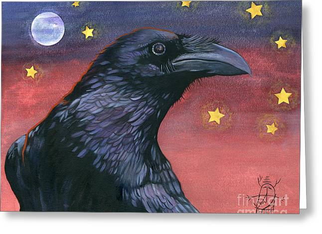 Raven Steals The Moon - Moon What Moon? Greeting Card