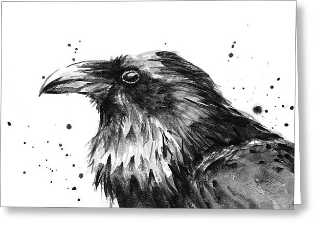 Raven Watercolor Portrait Greeting Card by Olga Shvartsur