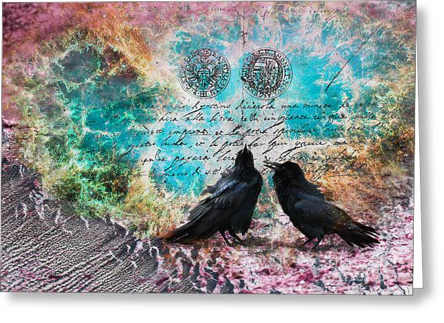 Raven Whispers In The Nowhere Greeting Card