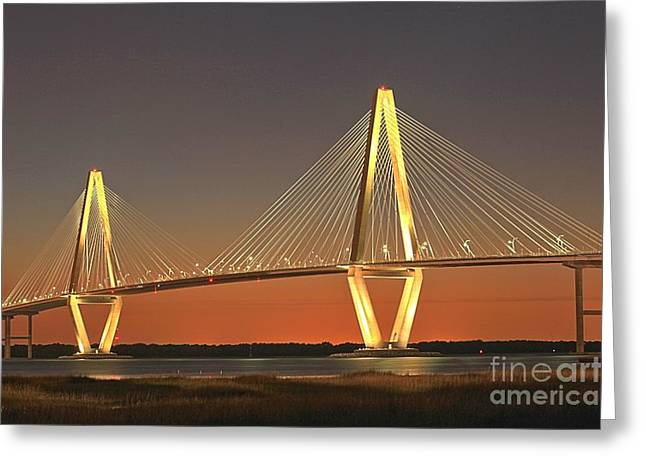 Ravenel Bridge At Dusk Greeting Card