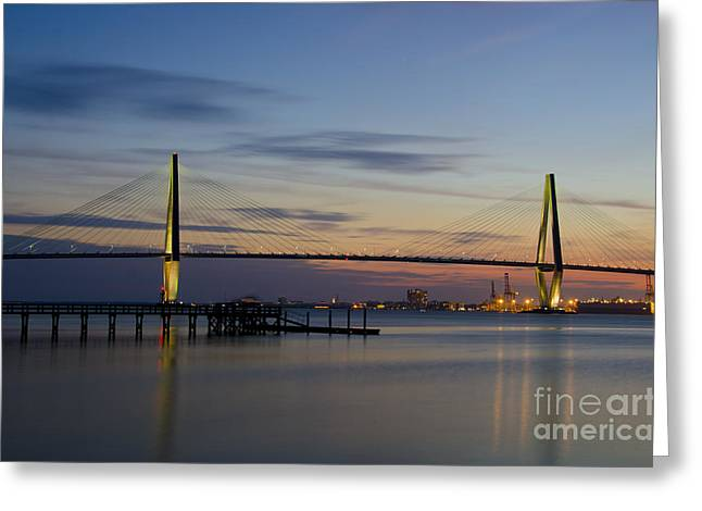 Greeting Card featuring the photograph Ravenel Bridge Nightfall by Dale Powell