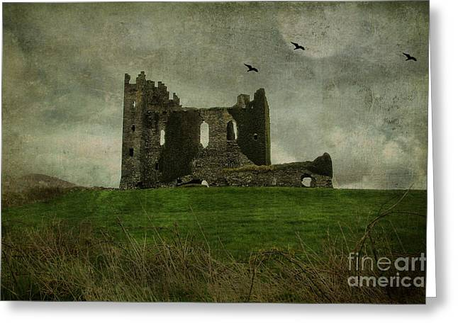 Raven's Castle Greeting Card by Terry Rowe