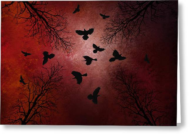 Ravens In The Sky Greeting Card