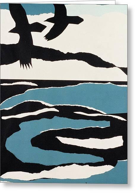 Ravens Greeting Card by John Wallington