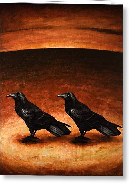 Ravens Greeting Card by Mark Zelmer