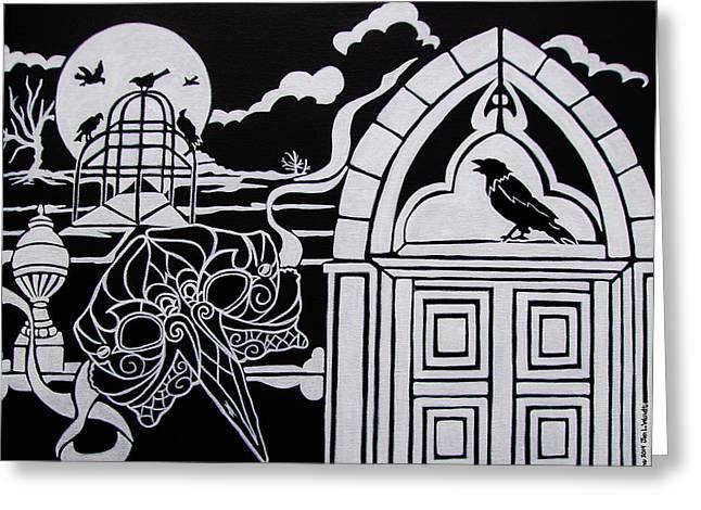 Ravens' Mask Greeting Card by Jan Wendt