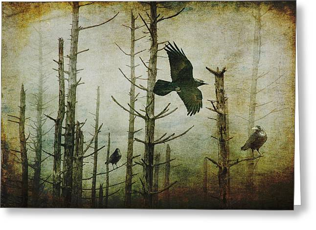 Ravens Of The Mist Artistic Expression Greeting Card by Randall Nyhof