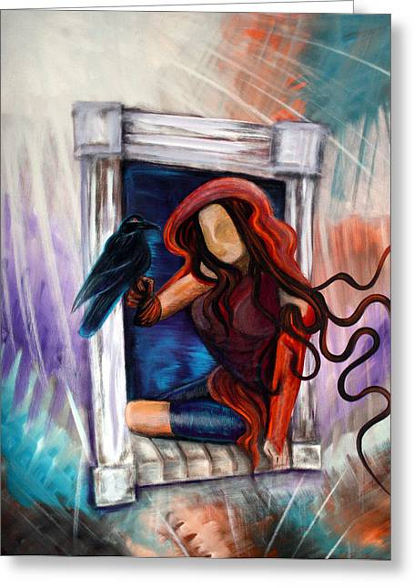 Raven's Wish Greeting Card by Laura Barbosa