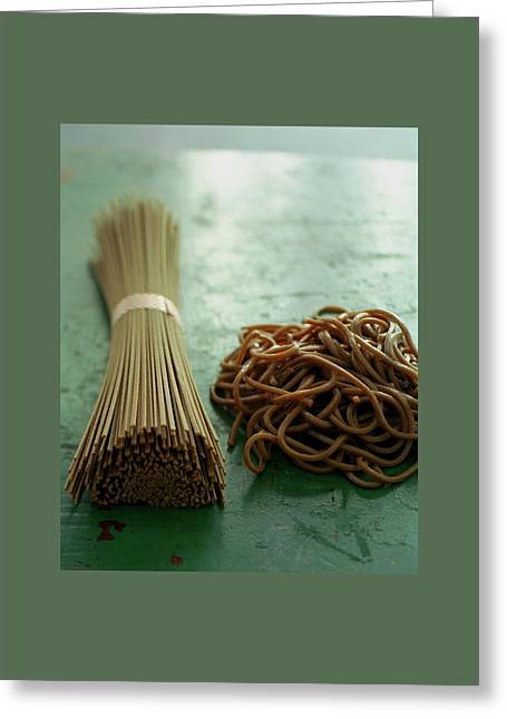 Raw And Cooked Pasta Greeting Card by Romulo Yanes