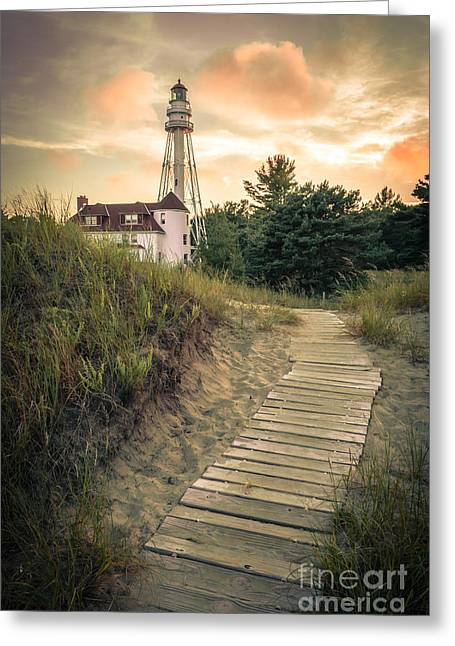 Greeting Card featuring the photograph Rawley Point Lighthouse Under Smoldering Skies by Mark David Zahn Photography