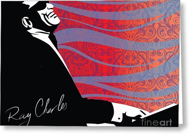 Ray Charles Jazz Digital Illustration Print Poster  Greeting Card by Sassan Filsoof