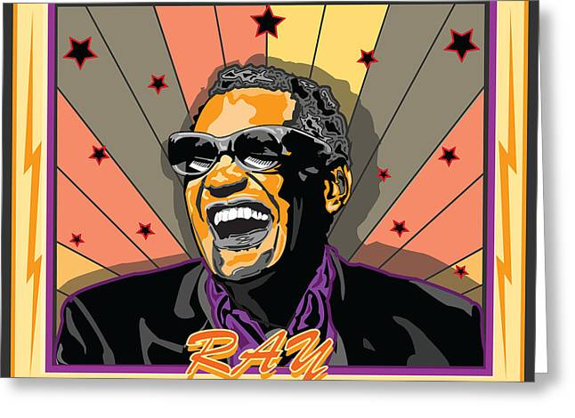 Ray Charles Greeting Card by Larry Butterworth