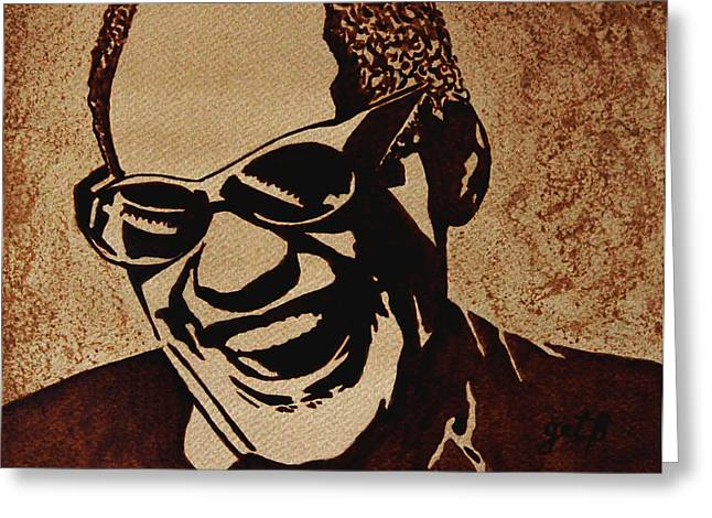 Ray Charles Original Coffee Painting Greeting Card by Georgeta  Blanaru