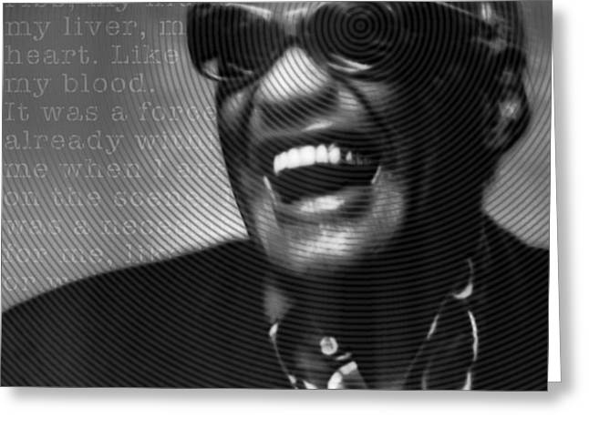Ray Charles Robinson And Quote Black And Gray Greeting Card by Tony Rubino