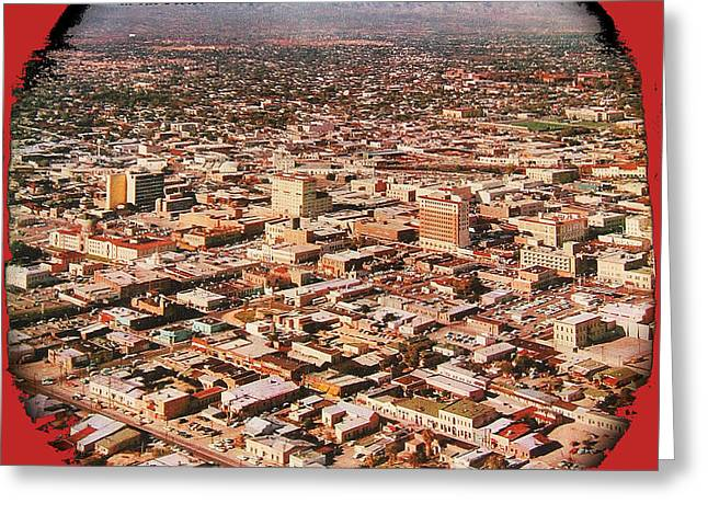 Ray Manley Aerial Photo Cover Of February 1958 Issue Of Arizona Highways Featuring Tucson Arizona Greeting Card by David Lee Guss