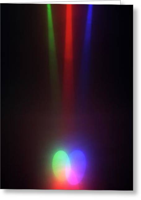 Rays Of Different Coloured Lights Greeting Card by Dorling Kindersley/uig