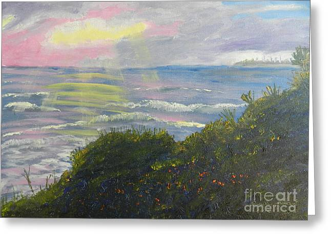 Rays Of Light At Burliegh Heads Greeting Card by Pamela  Meredith