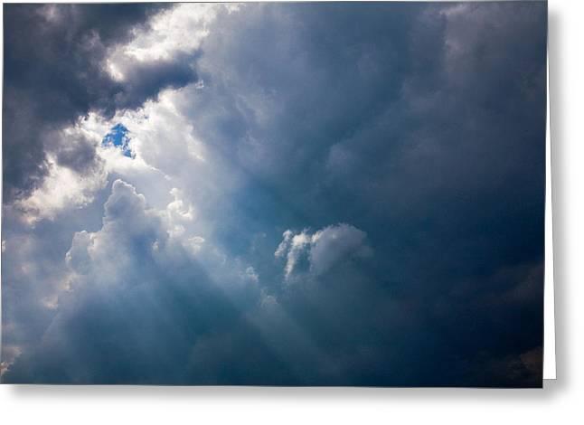 Rays Of Sunshine Through Dark Clouds Greeting Card by Natalie Kinnear