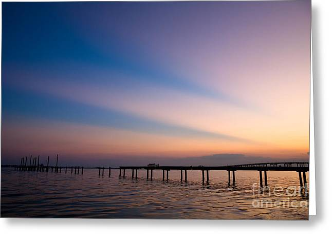 Rays Over Biloxi Bay Greeting Card by Joan McCool