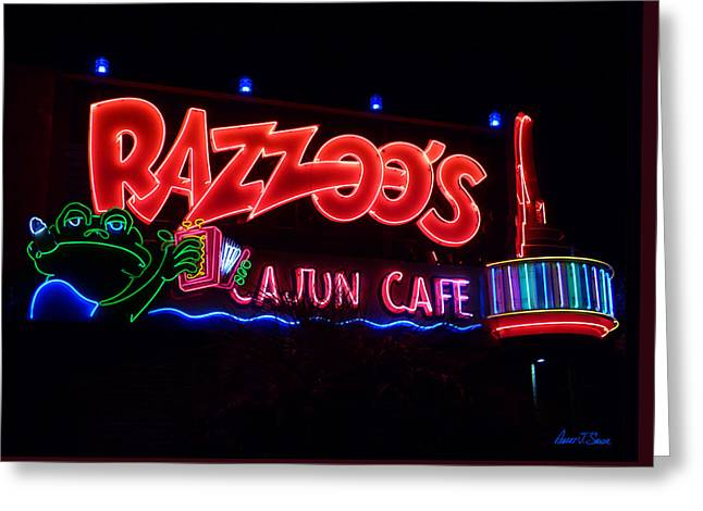Razzoo's Cajun Cafe At Nite Greeting Card by Robert J Sadler