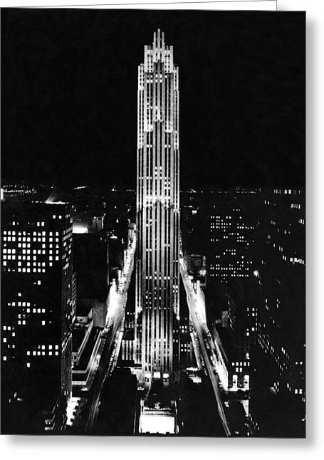 Rca Building At Night In Nyc Greeting Card by Underwood Archives