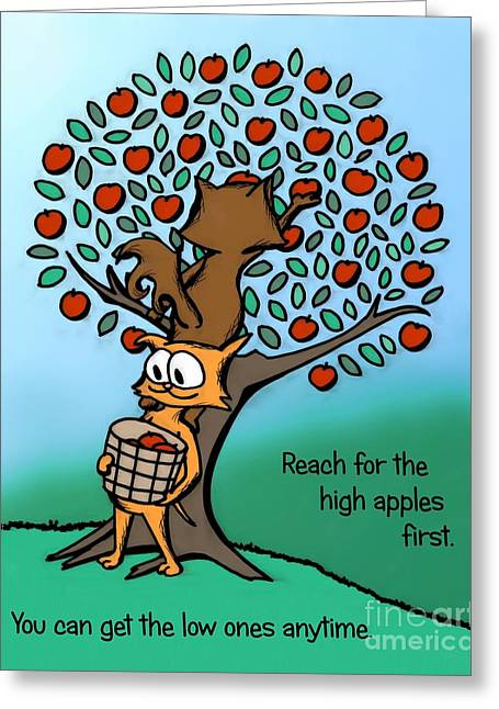 Greeting Card featuring the drawing Reach For The High Apples by Pet Serrano