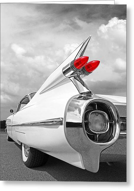 Reach For The Skies - 1959 Cadillac Tail Fins Black And White Greeting Card by Gill Billington
