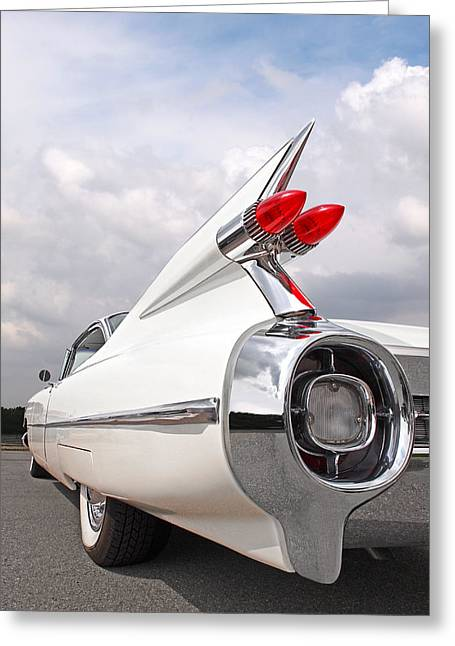 Reach For The Skies - 1959 Cadillac Tail Fins Greeting Card by Gill Billington