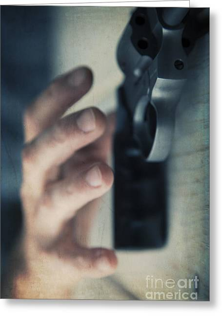 Reaching For A Gun Greeting Card by Edward Fielding