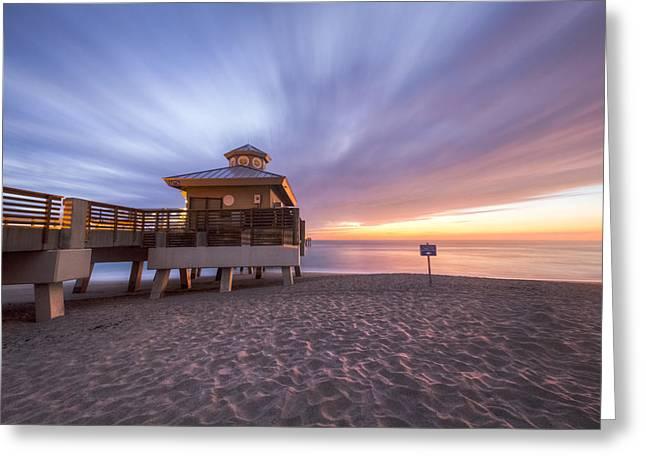 Reaching Into Sunrise Greeting Card by Debra and Dave Vanderlaan